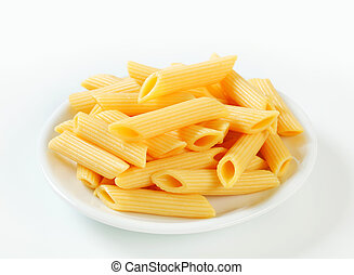 Cooked penne pasta - Portion of cooked penne pasta