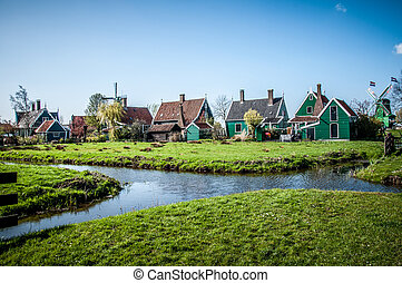 village with wooden houses