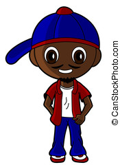 Cartoon hip hopper - Illustration of a hip hop guy drawn in...