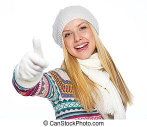 Feliz, jovem, mulher, Inverno, roupas, mostrando, polegares,...