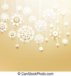 Christmas balls made from snowflakes on gold.