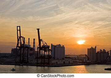 Seaside Industry at Dusk - An industrial area on the coast...