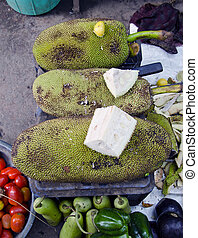 jackfruit in asian vegetable market, India