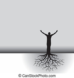 man with tree roots - This black white vector background has...