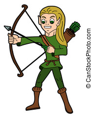 Fantasy cartoon - elvish archer - Fantasy cartoon - elf...