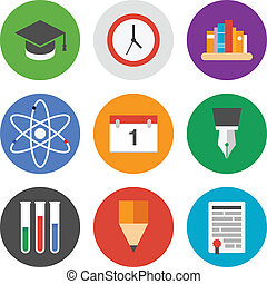 Education icons set - Collection of colorful vector icons in...