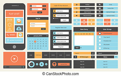 Flat UI design kit - Modern UI flat design vector kit in...