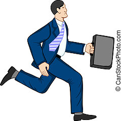 Running businessman with briefcase. Vector