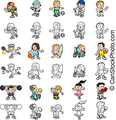 Cartoon people playing sports - A set of cartoon cartoon...