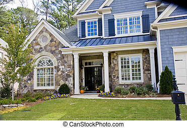 Stone and Blue House - A nice house of stone and blue siding