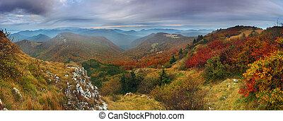 Autumn mountain from peak Klak