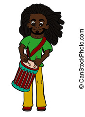 Cartoon rastaman playing drums - Cartoon rastafarian...