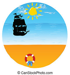boat with beach stuff and paradise beach vector illustration