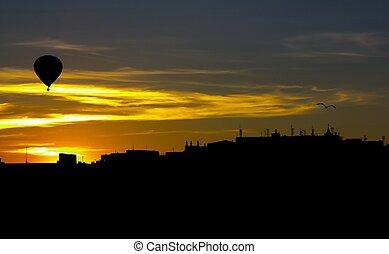 Stockholm skyline - Skyline of Stockholm, Sweden, at sunset,...