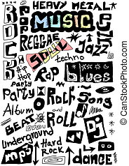 Music words seamless background