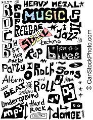 musique, mots, seamless, fond