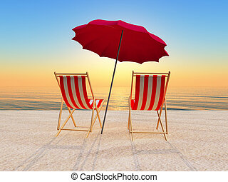 sunbed and parasol