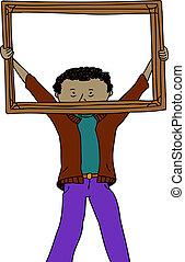 Man Holding Frame