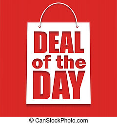 Deal of the day poster with bag, vector illustration for...