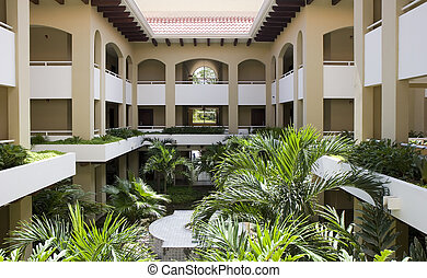 Tropical Courtyard - A condominium courtyard at a lush...
