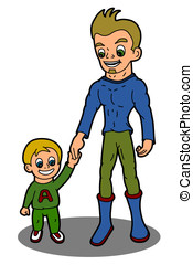 Father and son - Family - Father and son cartoon isolated on...