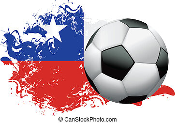 Chile Soccer Grunge Design - Soccer ball with a grunge flag...