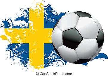 Sweden Soccer Grunge Design - Soccer ball with a grunge flag...