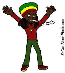 Happy rastaman smoking - Celebrating rastafarian isolated on...