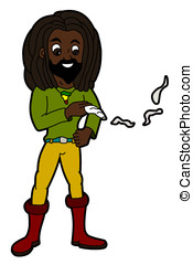 Rastaman smoking joint - Rastafarian smoking joint isolated...