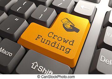 Keyboard with Crowd Funding Button. - Orange Crowd Funding...
