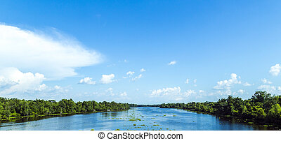 view to the river Missisippi with its wide river bed and...