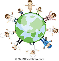 People Standing Around the Earth