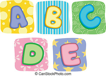 Quilt Alphabet Letters A B C D E - Illustration of Quilt...