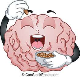 Brain Mascot Eating Peanuts - Illustration of Brain Mascot...