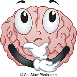 Thinking Brain Mascot - Illustration of Thinking Brain...
