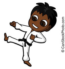 Karate kid - Kid character practicing karate kicking and...