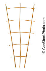 Bamboo trellis plant support isolated on white