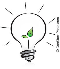 Eco-Friendly Light Bulb with Seedling - Illustration of...