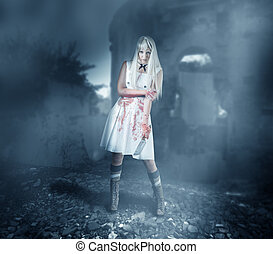 Sexy woman zombie stands in ruins - Sexy woman zombie stands...