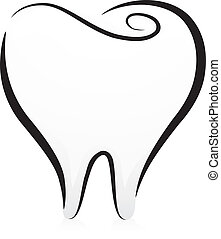 Tooth in Black and White - Illustration of a Tooth in Black...