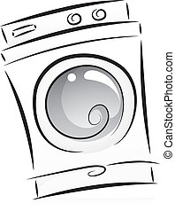Washing Machine in Black and White - Illustration of Washing...