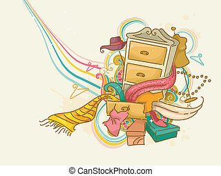 Fashion - Illustration of Drawer Overflowing with Dress...