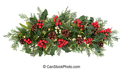 Christmas Flora and Fauna - Christmas floral decoration with...