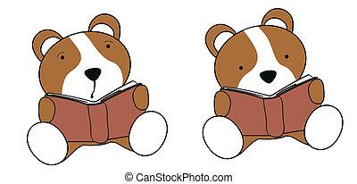 chomik, niemowlę, rysunek, czytanie, komplet