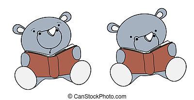 rhino baby cartoon reading set