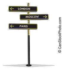 Street sign showing cities