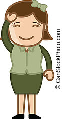 Smiling Lady - Business Cartoon