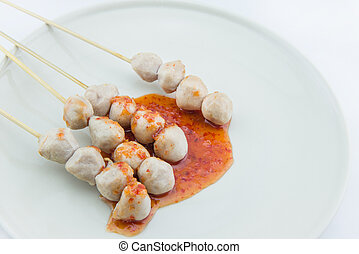 grilled meat ball on white background