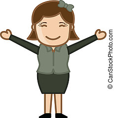 Happy Girl with Open Arms Vector