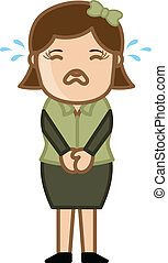 Crying Female - Business Cartoon - Drawing Art of Cartoon...